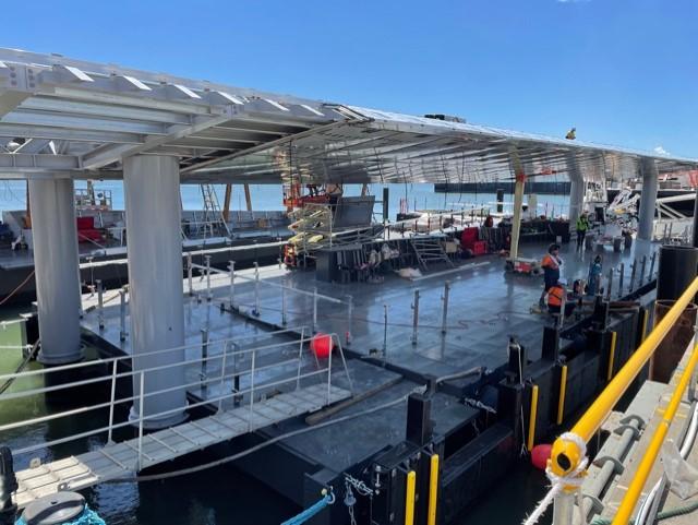 Howard Smith Wharves ferry terminal on track